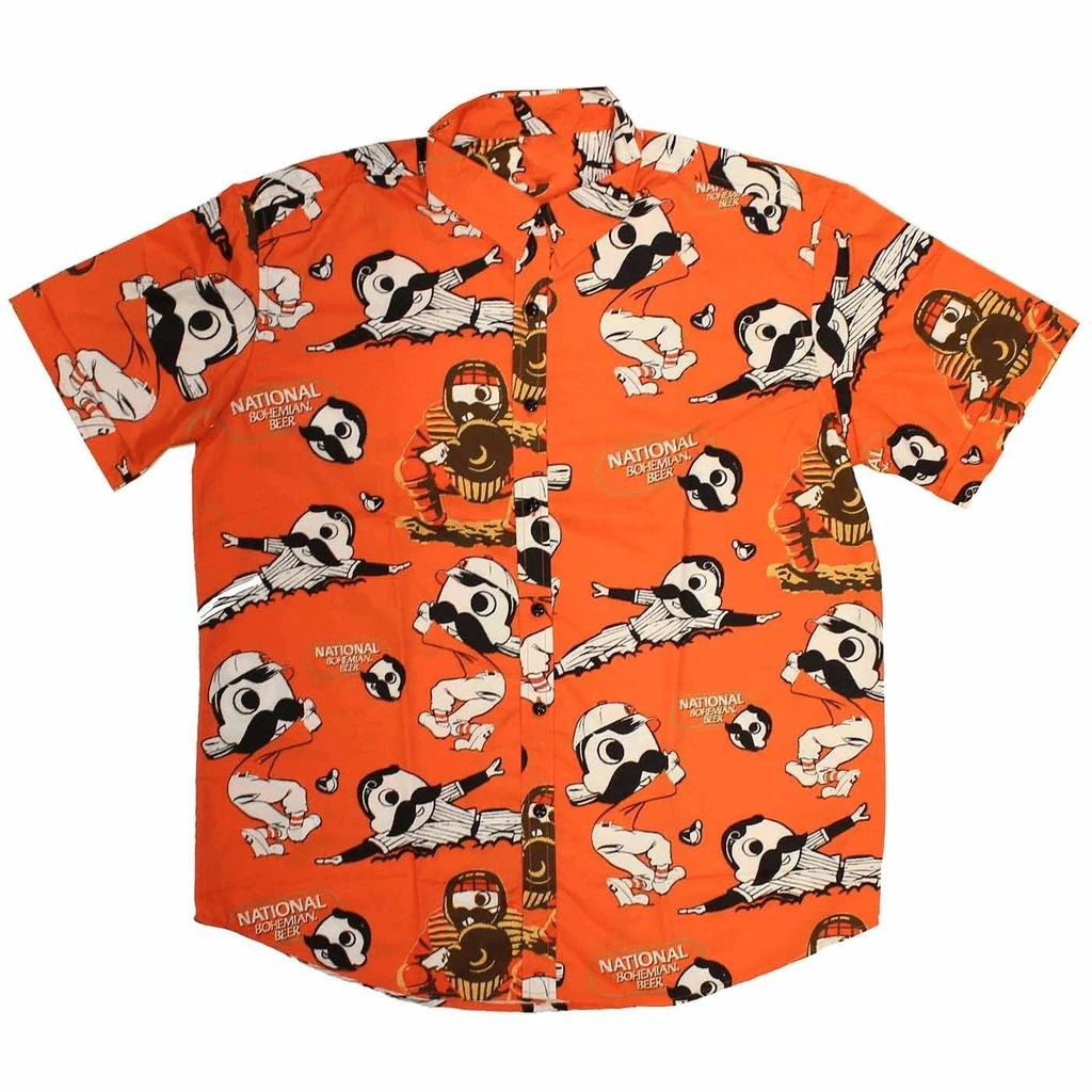 Natty Boh Baseball Players Orange Hawaiian Shirt